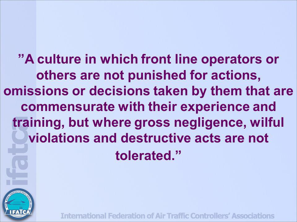 A culture in which front line operators or others are not punished for actions, omissions or decisions taken by them that are commensurate with their experience and training, but where gross negligence, wilful violations and destructive acts are not tolerated.