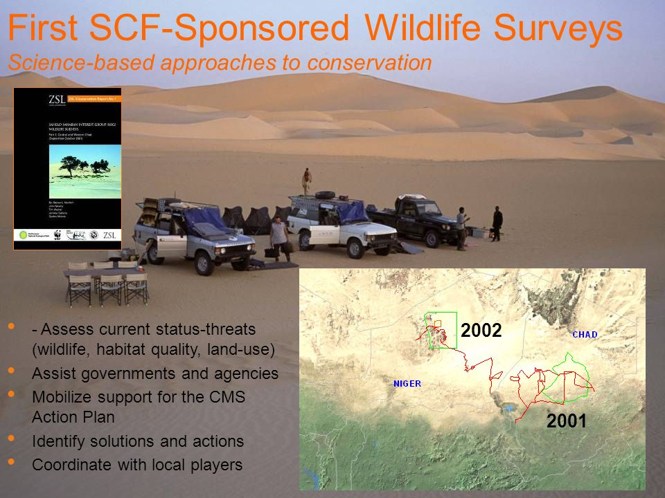 First SCF-Sponsored Wildlife Surveys Science-based approaches to conservation - Assess current status-threats (wildlife, habitat quality, land-use) As