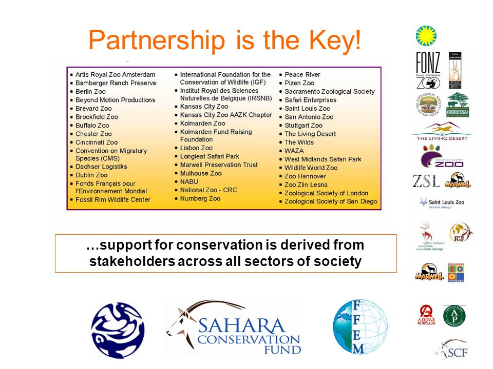 Partnership is the Key! …support for conservation is derived from stakeholders across all sectors of society