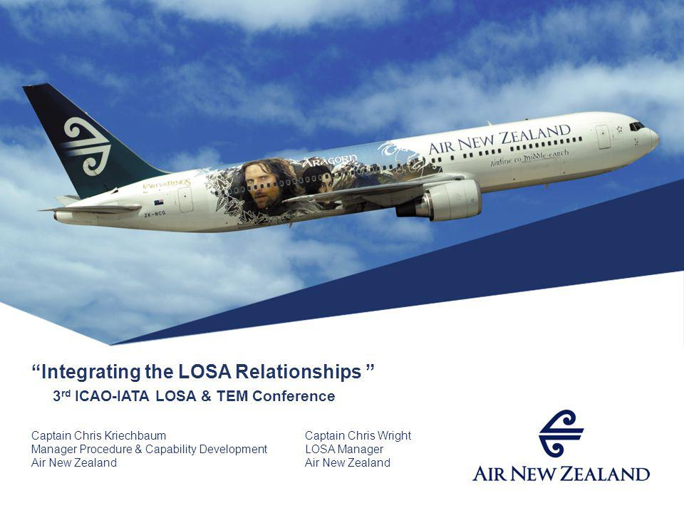 Integrating the LOSA Relationships 3 rd ICAO-IATA LOSA & TEM Conference Captain Chris KriechbaumCaptain Chris Wright Manager Procedure & Capability DevelopmentLOSA ManagerAir New Zealand