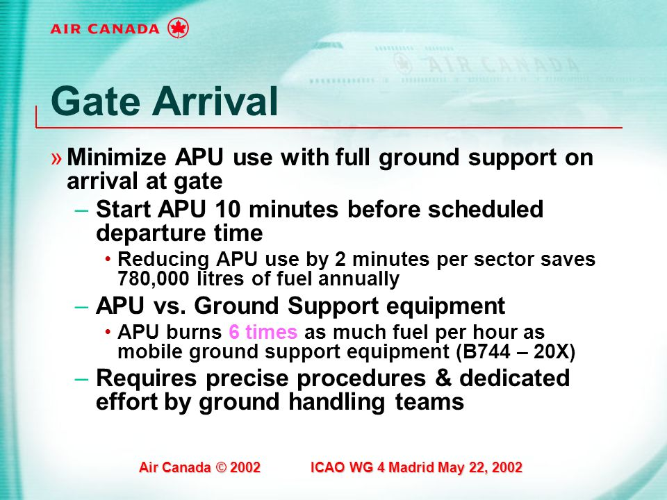 Air Canada © 2002 ICAO WG 4 Madrid May 22, 2002 Gate Arrival »Minimize APU use with full ground support on arrival at gate –Start APU 10 minutes befor
