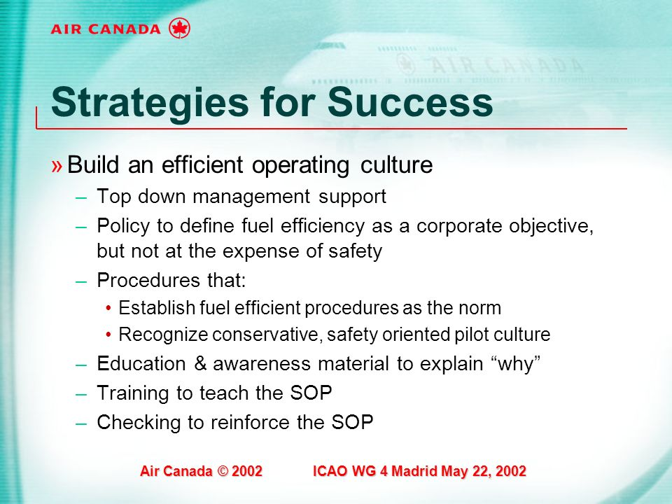 Air Canada © 2002 ICAO WG 4 Madrid May 22, 2002 Strategies for Success »Build an efficient operating culture –Top down management support –Policy to d