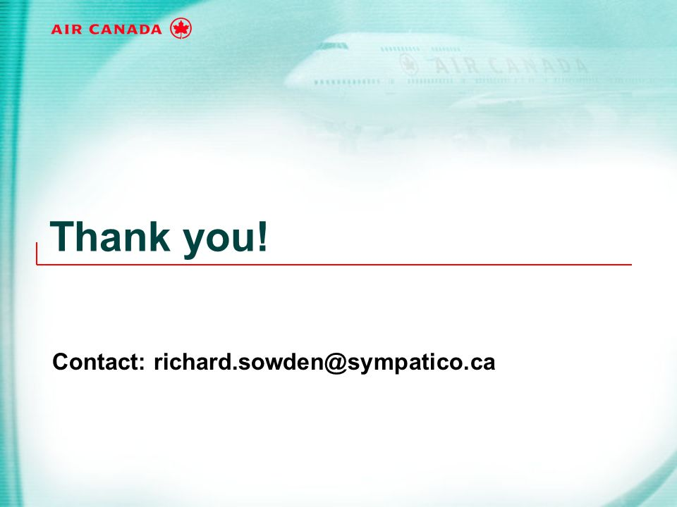 Thank you! Contact: richard.sowden@sympatico.ca