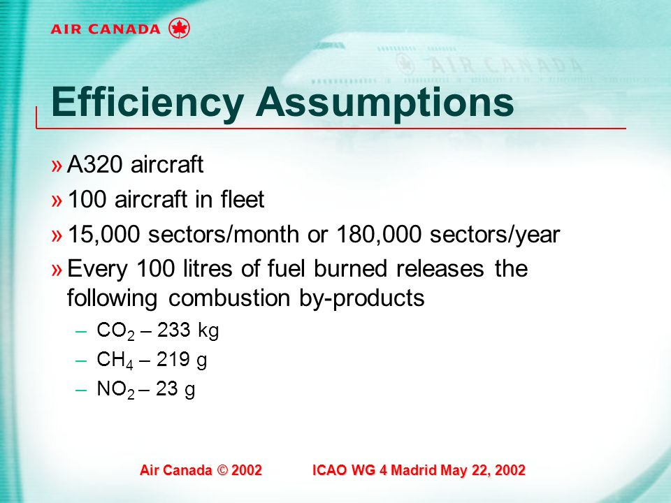 Air Canada © 2002 ICAO WG 4 Madrid May 22, 2002 Efficiency Assumptions »A320 aircraft »100 aircraft in fleet »15,000 sectors/month or 180,000 sectors/