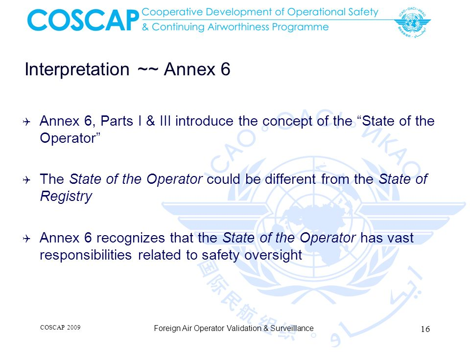 Interpretation ~~ Annex 6 Annex 6, Parts I & III introduce the concept of the State of the Operator The State of the Operator could be different from