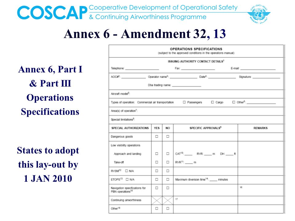 5 Annex 6 - Amendment 32, 13 Annex 6, Part I & Part III Operations Specifications States to adopt this lay-out by 1 JAN 2010