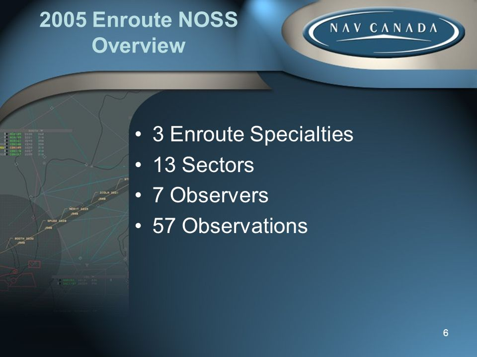 Enroute NOSS Overview 3 Enroute Specialties 13 Sectors 7 Observers 57 Observations