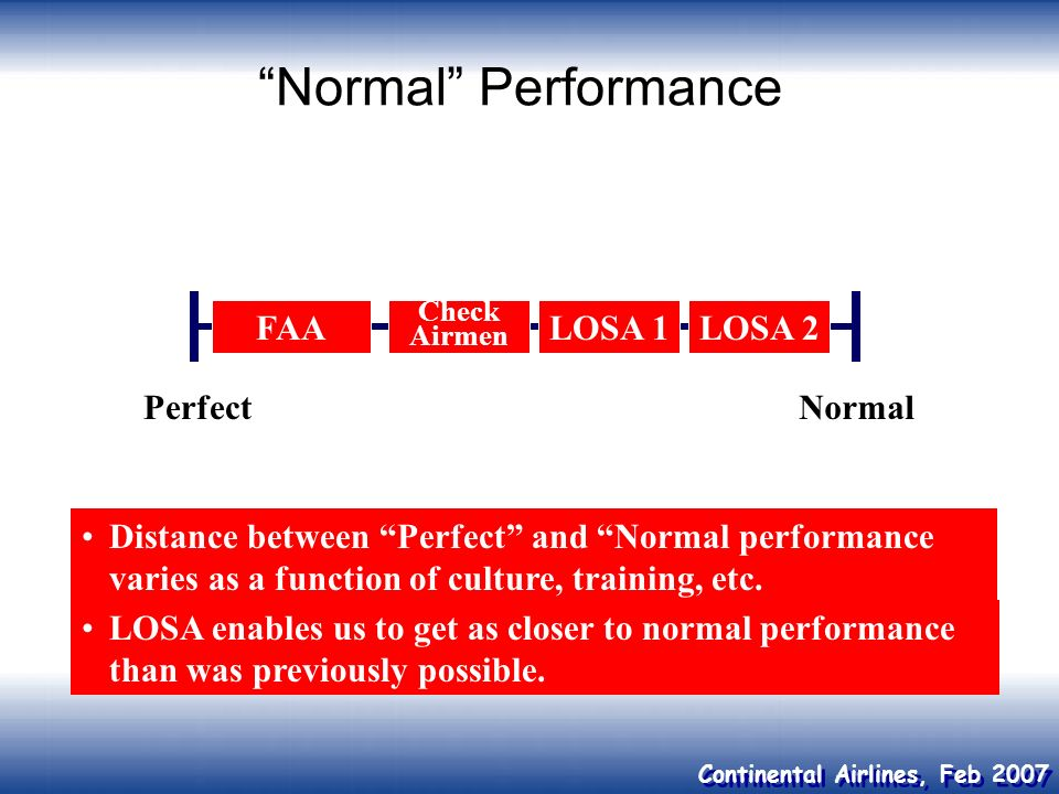 Continental Airlines, Feb 2007 Normal Performance Normal FAA Check Airmen LOSA 1LOSA 2 Distance between Perfect and Normal performance varies as a fun