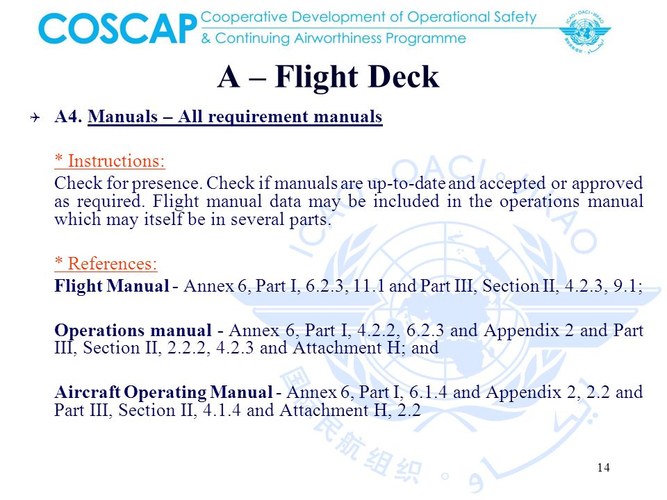 14 A – Flight Deck A4. Manuals – All requirement manuals * Instructions: Check for presence.