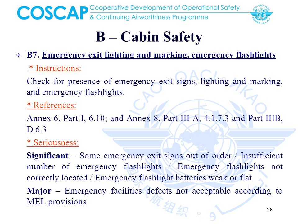 58 B – Cabin Safety B7.