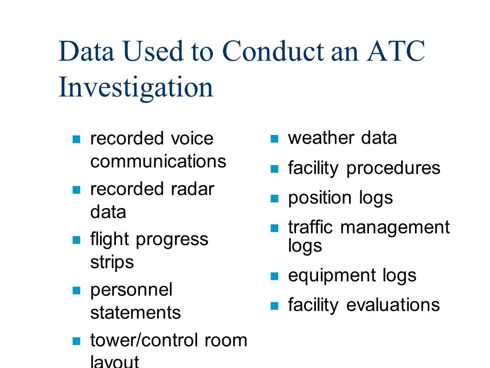 Arrival at the ATC Facility n In-briefing by facility personnel n Listen to recorded voice communications n Tour of the facility n Review training record of controller n Review documentation n Develop interview schedule