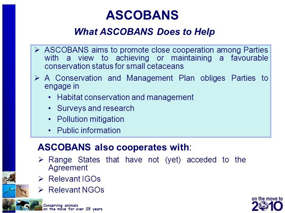 14 Conserving animals on the move for over 25 years ASCOBANS What ASCOBANS Does to Help ASCOBANS aims to promote close cooperation among Parties with
