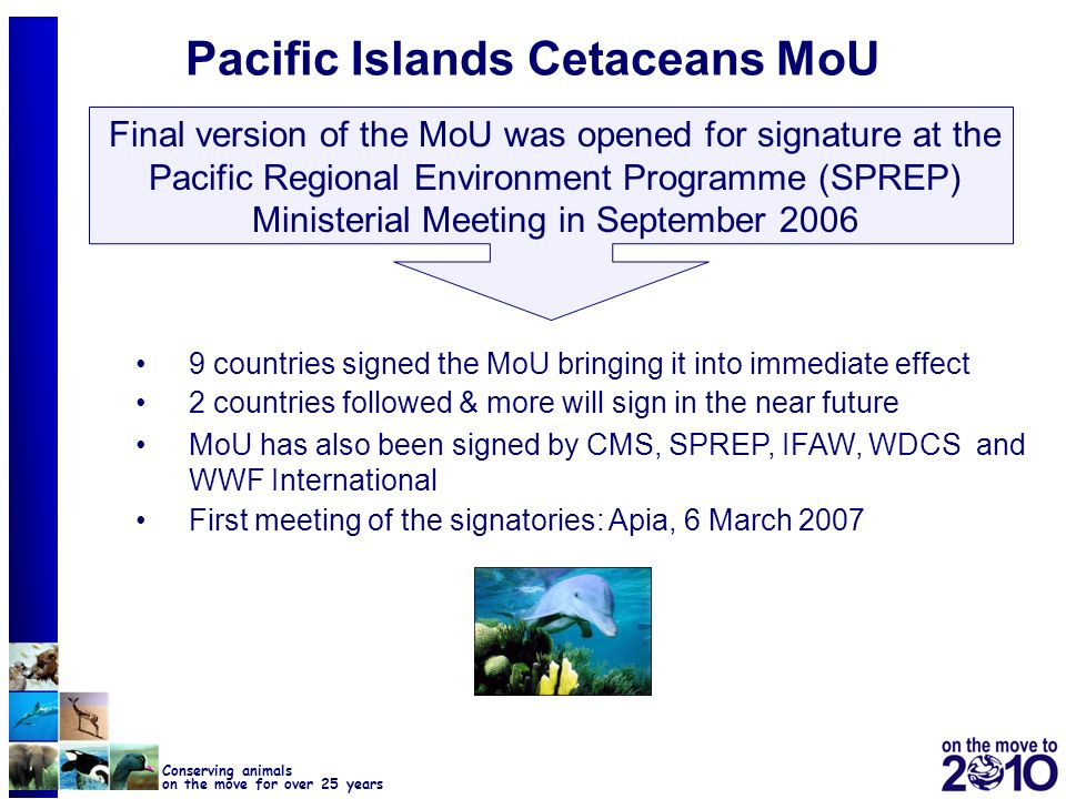 23 Conserving animals on the move for over 25 years Pacific Islands Cetaceans MoU Final version of the MoU was opened for signature at the Pacific Reg