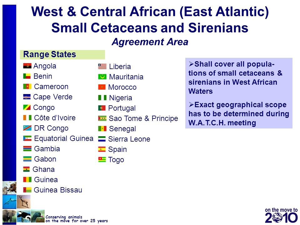 25 Conserving animals on the move for over 25 years West & Central African (East Atlantic) Small Cetaceans and Sirenians Agreement Area Range States S