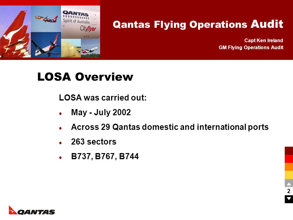Capt Ken Ireland GM Flying Operations Audit Qantas Flying Operations Audit 2 LOSA was carried out: May - July 2002 Across 29 Qantas domestic and inter