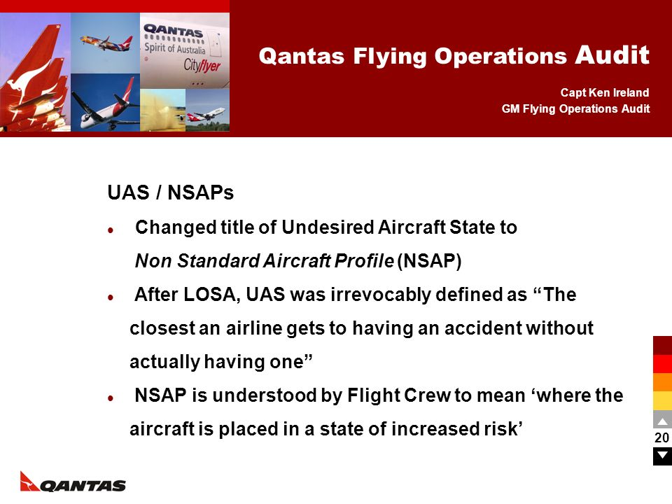 Capt Ken Ireland GM Flying Operations Audit Qantas Flying Operations Audit 20 UAS / NSAPs Changed title of Undesired Aircraft State to Non Standard Ai