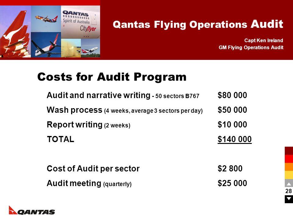 Capt Ken Ireland GM Flying Operations Audit Qantas Flying Operations Audit 28 Audit and narrative writing - 50 sectors B767 $80 000 Wash process (4 we
