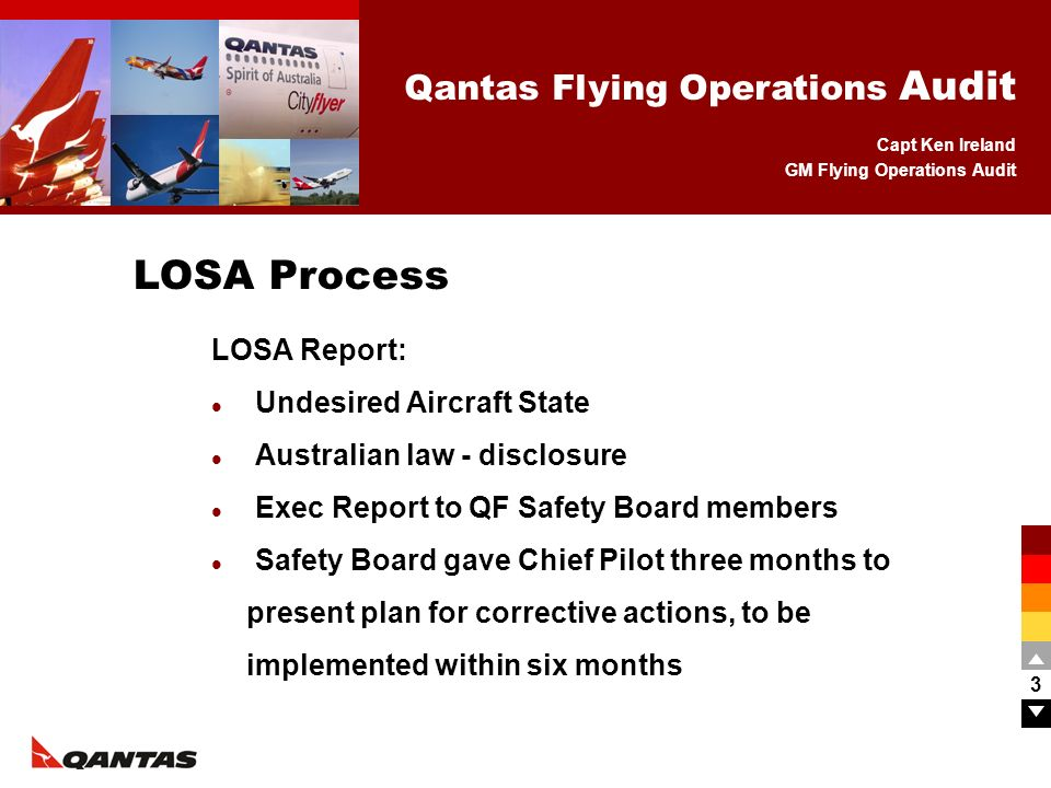 Capt Ken Ireland GM Flying Operations Audit Qantas Flying Operations Audit 4 All Flight Crew called in for meeting with Chief Pilot Putting final results directly to pilots meant they interpreted the poor result as being their fault.