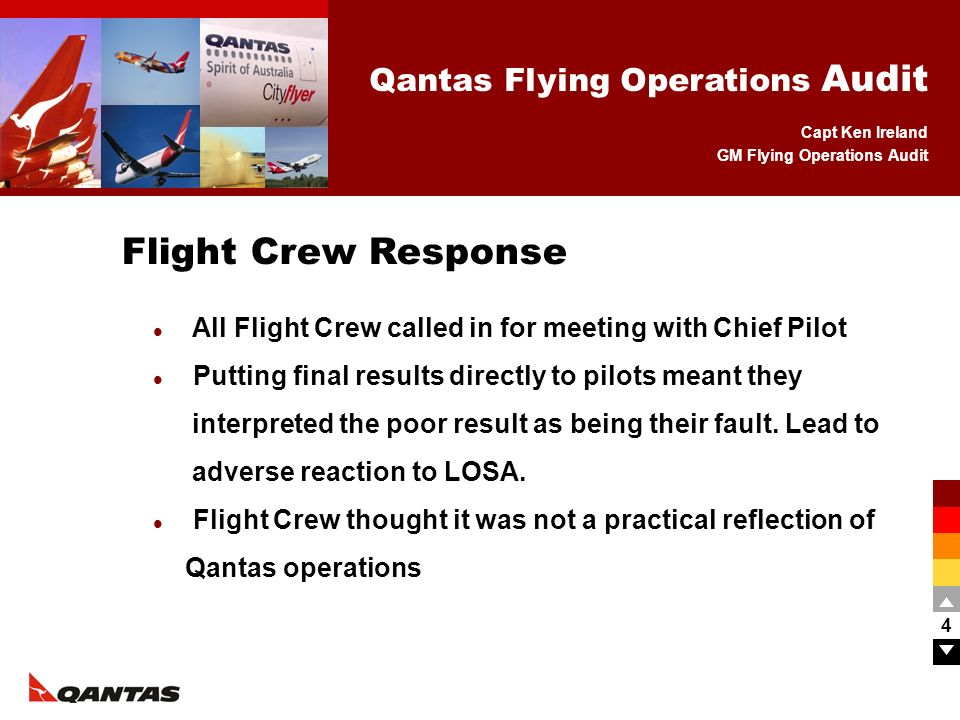 Capt Ken Ireland GM Flying Operations Audit Qantas Flying Operations Audit 4 All Flight Crew called in for meeting with Chief Pilot Putting final resu