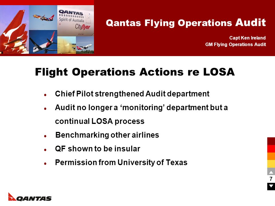 Capt Ken Ireland GM Flying Operations Audit Qantas Flying Operations Audit 8 GM Flying Ops Audit (Captain) full time Two full time ground staff 25 Auditors (Captains) used as required Audit Department Structure Head of Flight Ops and Chief Pilot GM Flying Ops Audit Flying Ops Audit Mgr Flying Ops Audit Co-ordinator 25 Pilot Auditors