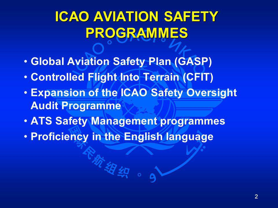 2 ICAO AVIATION SAFETY PROGRAMMES Global Aviation Safety Plan (GASP) Controlled Flight Into Terrain (CFIT) Expansion of the ICAO Safety Oversight Audi