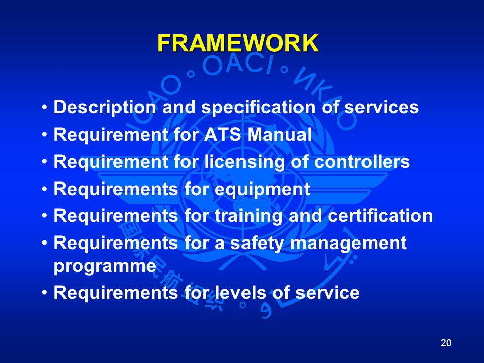 20 FRAMEWORK Description and specification of services Requirement for ATS Manual Requirement for licensing of controllers Requirements for equipment