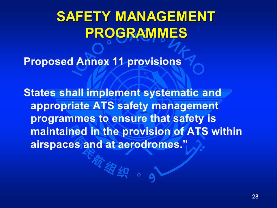 28 SAFETY MANAGEMENT PROGRAMMES Proposed Annex 11 provisions States shall implement systematic and appropriate ATS safety management programmes to ens