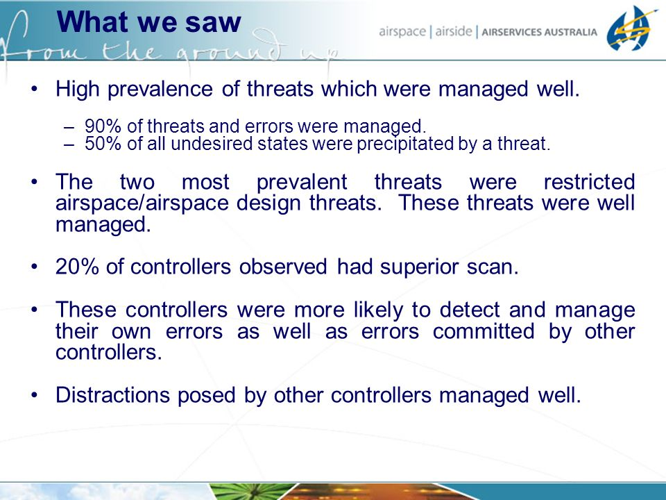 High prevalence of threats which were managed well. –90% of threats and errors were managed. –50% of all undesired states were precipitated by a threa