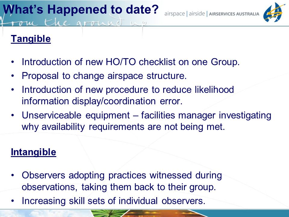 Tangible Introduction of new HO/TO checklist on one Group. Proposal to change airspace structure. Introduction of new procedure to reduce likelihood i