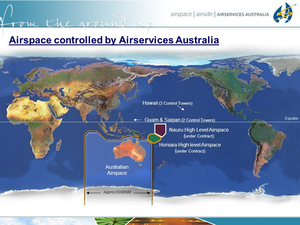 Equator Australian Airspace Honiara High level Airspace ( under Contract) Airspace controlled by Airservices Australia Approx 5000NM Hawaii (3 Control