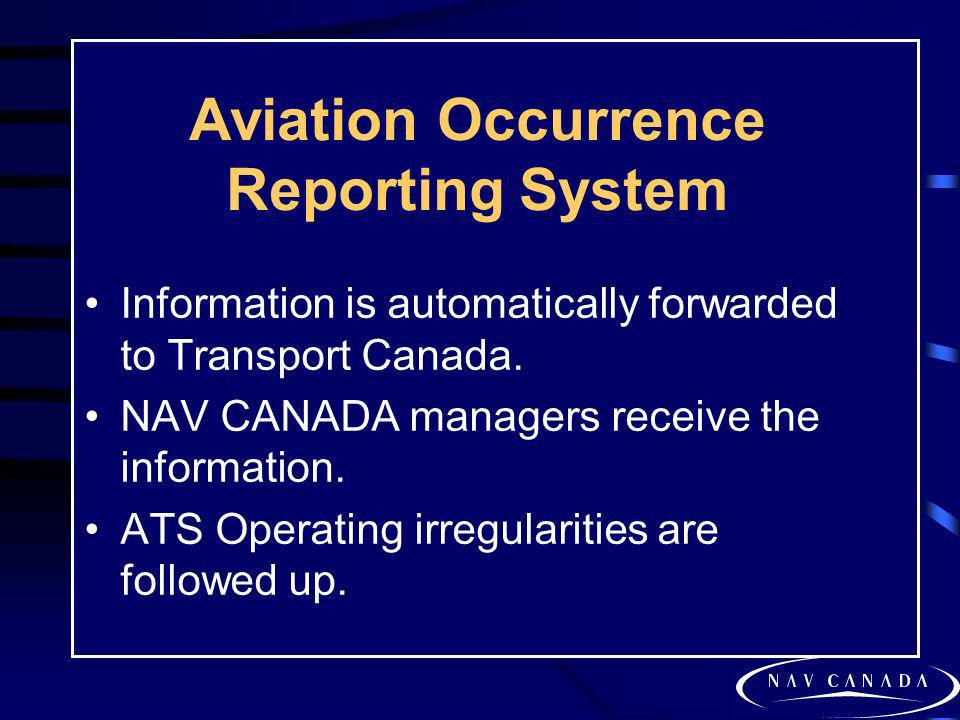 Aviation Occurrence Reporting System Information is automatically forwarded to Transport Canada. NAV CANADA managers receive the information. ATS Oper