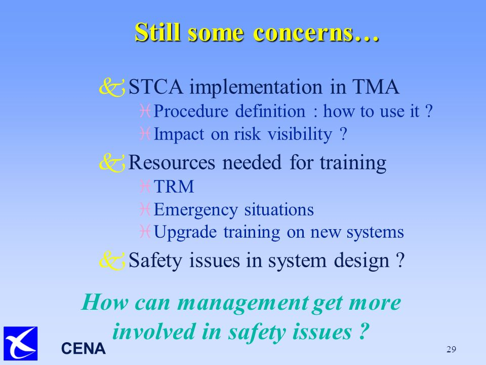 CENA 29 Still some concerns… kSTCA implementation in TMA i Procedure definition : how to use it .