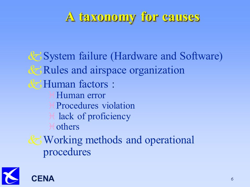 CENA 6 A taxonomy for causes kSystem failure (Hardware and Software) kRules and airspace organization kHuman factors : i Human error i Procedures violation i lack of proficiency i others kWorking methods and operational procedures