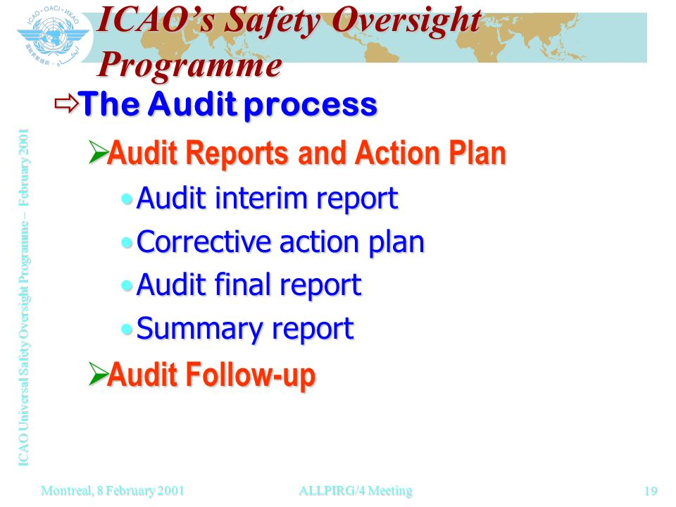 ICAO Universal Safety Oversight Programme – February 2001 19 Montreal, 8 February 2001ALLPIRG/4 Meeting ICAOs Safety Oversight Programme The Audit process The Audit process Audit Reports and Action Plan Audit Reports and Action Plan Audit interim reportAudit interim report Corrective action planCorrective action plan Audit final reportAudit final report Summary reportSummary report Audit Follow-up Audit Follow-up