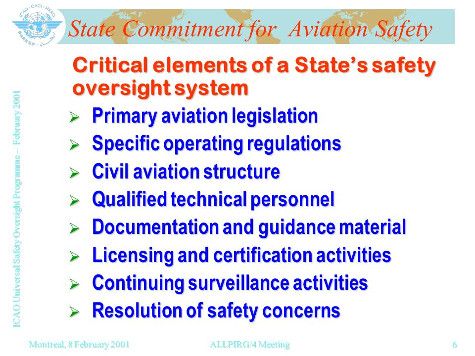 ICAO Universal Safety Oversight Programme – February 2001 6 Montreal, 8 February 2001ALLPIRG/4 Meeting State Commitment for Aviation Safety Critical elements of a States safety oversight system Primary aviation legislation Primary aviation legislation Specific operating regulations Specific operating regulations Civil aviation structure Civil aviation structure Qualified technical personnel Qualified technical personnel Documentation and guidance material Documentation and guidance material Licensing and certification activities Licensing and certification activities Continuing surveillance activities Continuing surveillance activities Resolution of safety concerns Resolution of safety concerns