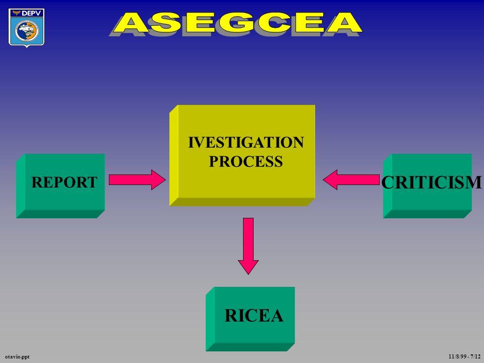 IVESTIGATION PROCESS REPORT CRITICISM RICEA otavio.ppt 11/8/99 - 7/12