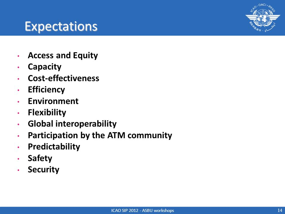 Expectations Access and Equity Capacity Cost-effectiveness Efficiency Environment Flexibility Global interoperability Participation by the ATM communi