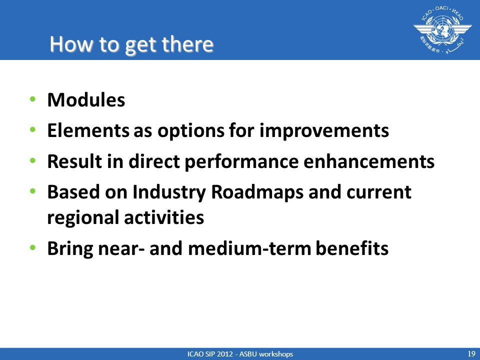 How to get there Modules Elements as options for improvements Result in direct performance enhancements Based on Industry Roadmaps and current regiona