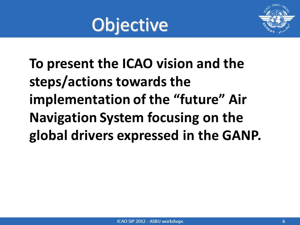 Objective To present the ICAO vision and the steps/actions towards the implementation of the future Air Navigation System focusing on the global drive