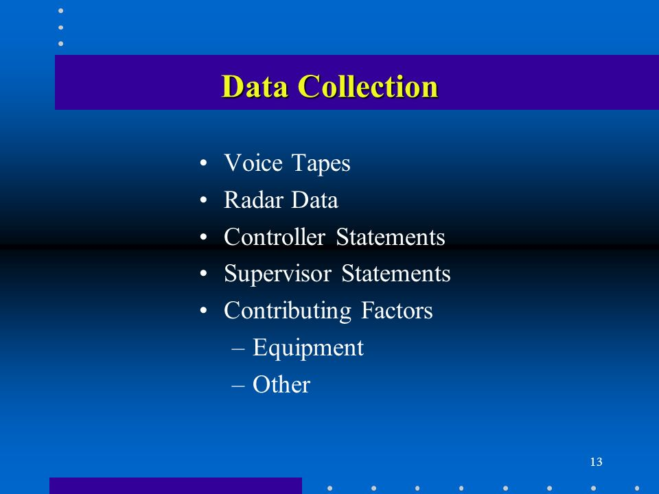 13 Data Collection Voice Tapes Radar Data Controller Statements Supervisor Statements Contributing Factors –Equipment –Other