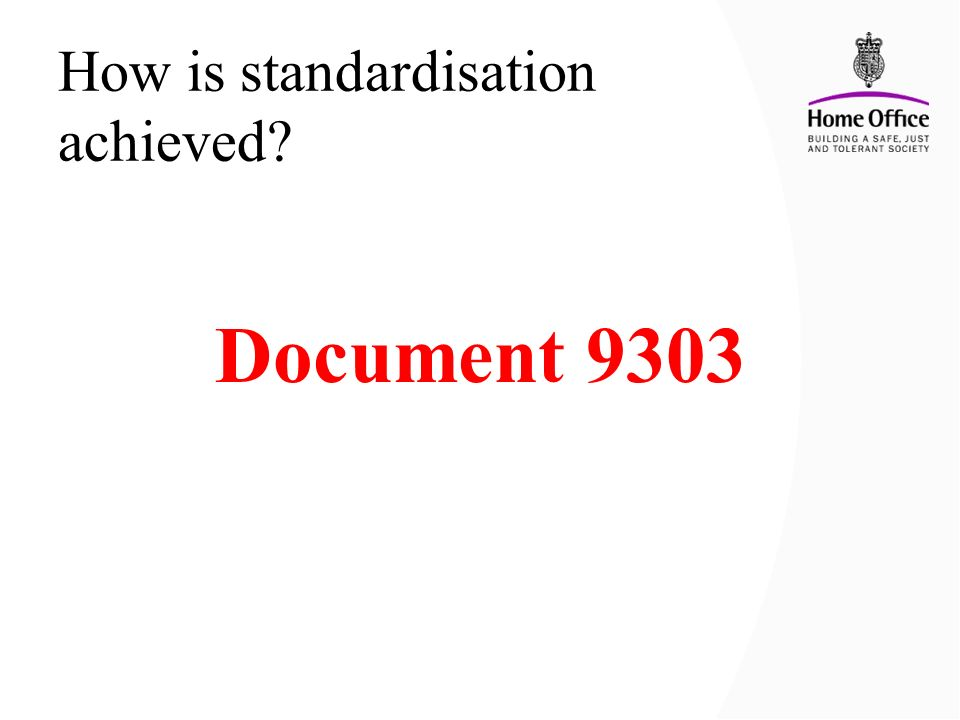 How is standardisation achieved? Document 9303