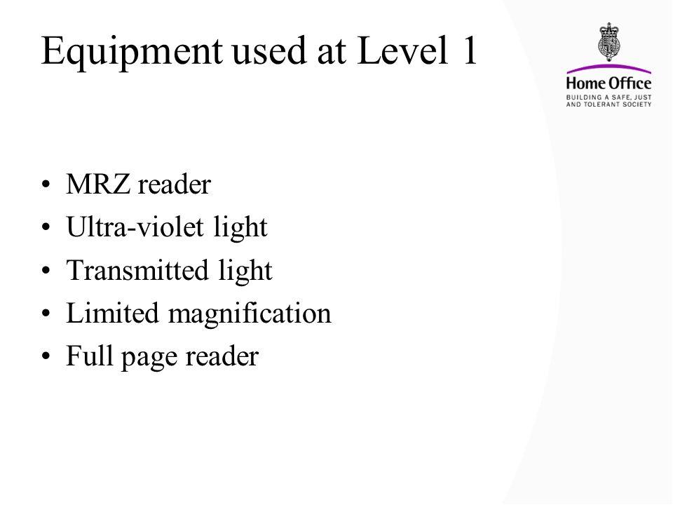 Equipment used at Level 1 MRZ reader Ultra-violet light Transmitted light Limited magnification Full page reader