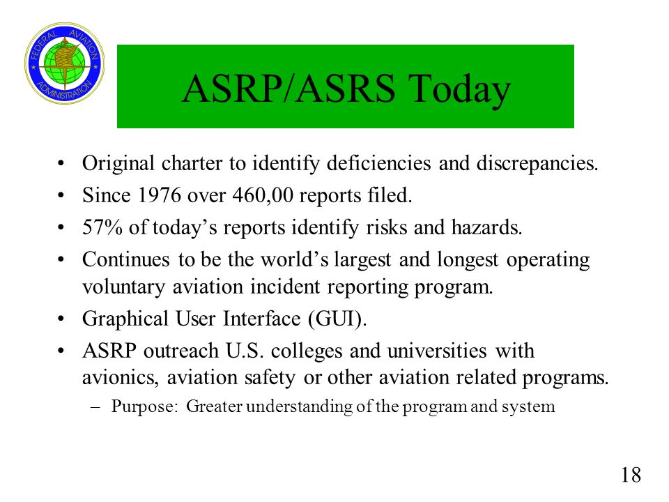 18 ASRP/ASRS Today Original charter to identify deficiencies and discrepancies. Since 1976 over 460,00 reports filed. 57% of todays reports identify r
