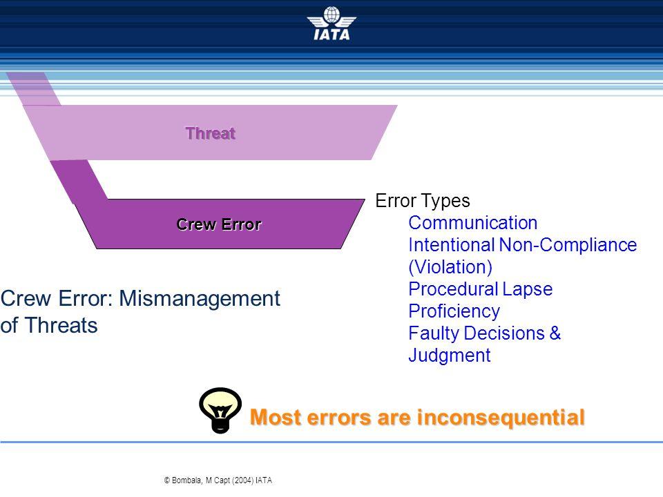 Error Types Communication Intentional Non-Compliance (Violation) Procedural Lapse Proficiency Faulty Decisions & Judgment Crew Error © Bombala, M Capt