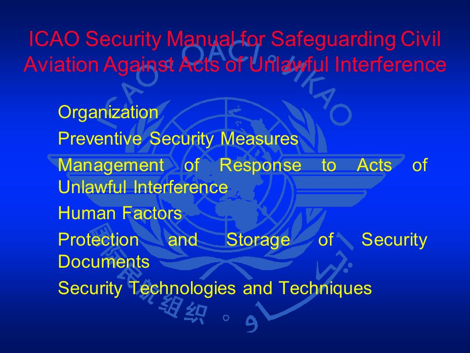 ICAO Security Manual for Safeguarding Civil Aviation Against Acts of Unlawful Interference Organization Preventive Security Measures Management of Res