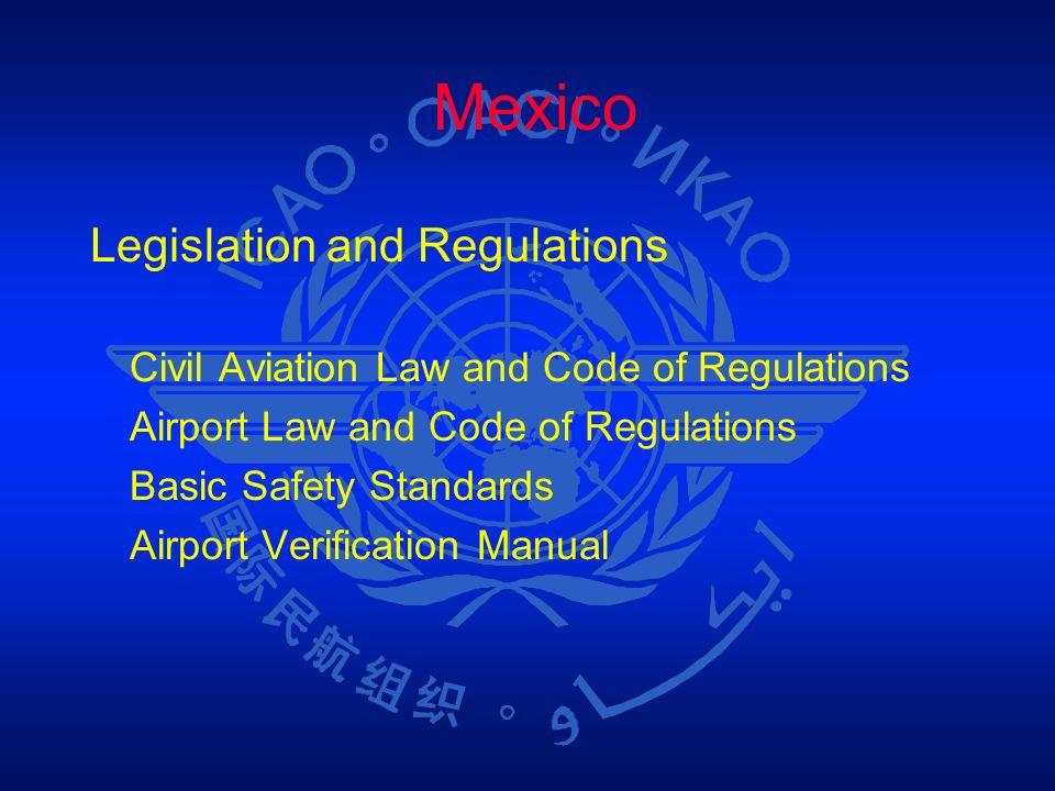 Mexico Legislation and Regulations Civil Aviation Law and Code of Regulations Airport Law and Code of Regulations Basic Safety Standards Airport Verif