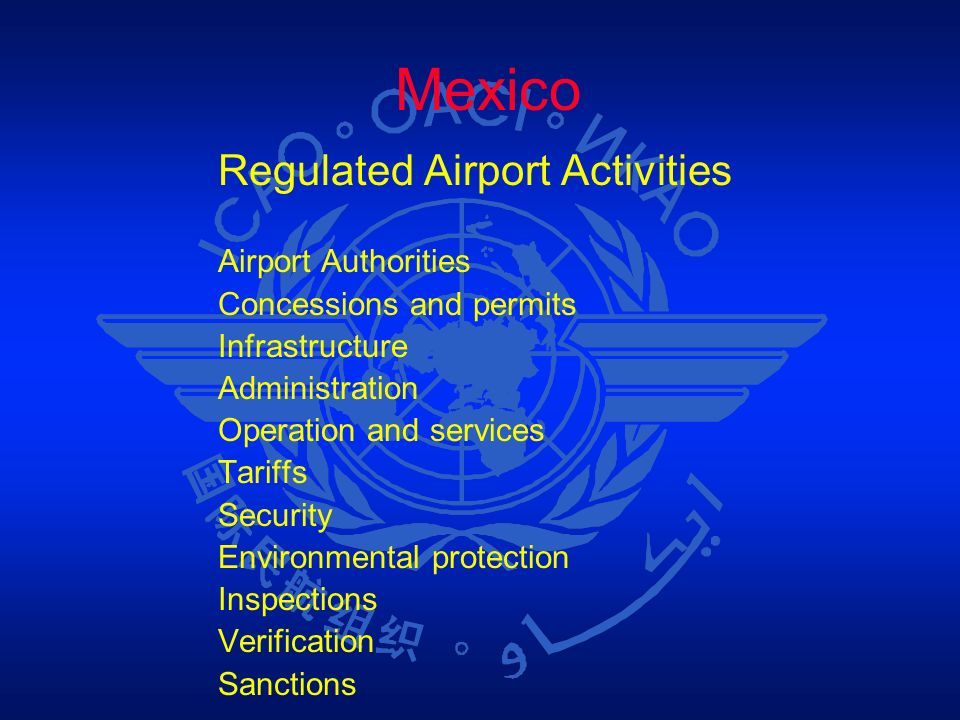 Mexico Regulated Airport Activities Airport Authorities Concessions and permits Infrastructure Administration Operation and services Tariffs Security