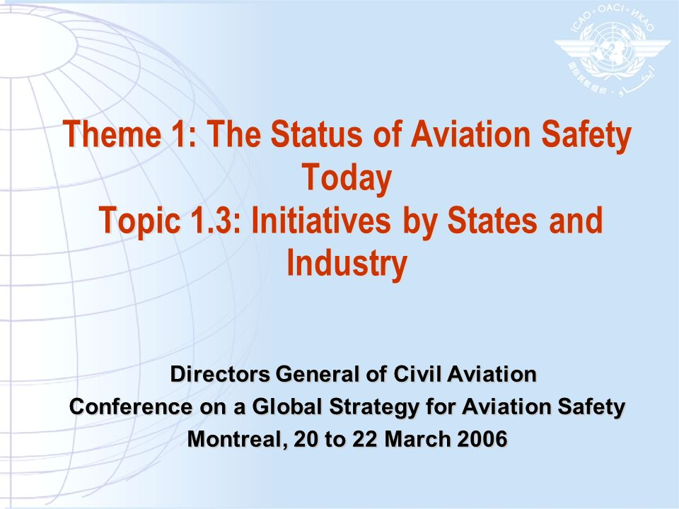 Initiatives by States and Industry A few examples States/ICAO: Regional Safety Oversight Organizations (EASA, ACSA, COSCAPs, etc…) States/Industry initiatives such as regional safety groups (CAST, PAAST, JSSI, ASET, NARAST, SARAST and SEARAST) Industry initiatives such as IATA IOSA programme IBAC BA-ISO programme FSF ALAR Tool kit and CFIT programme Aircraft manufacturers assistance But …too numerous to list them all