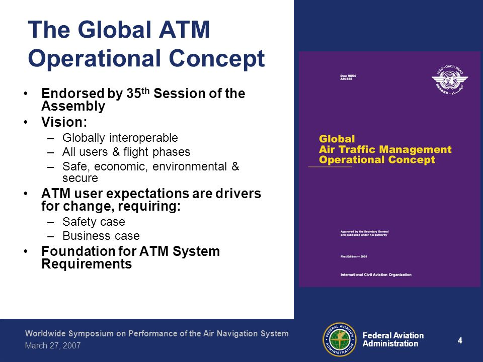 4 Federal Aviation Administration Worldwide Symposium on Performance of the Air Navigation System March 27, 2007 The Global ATM Operational Concept En