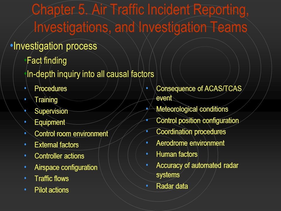 Chapter 5. Air Traffic Incident Reporting, Investigations, and Investigation Teams Procedures Training Supervision Equipment Control room environment